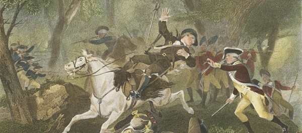 British Major Patrick Ferguson falls from his mount, struck down by a Rebel rifle volley at Kings Mountain in fall 1780. (Anne S.K. Brown Military Collection, Brown University Library)