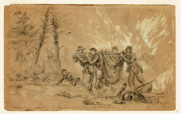 Image result for Waud, Wounded Escaping from the Burning Woods of the Wilderness (Wilderness Campaign)