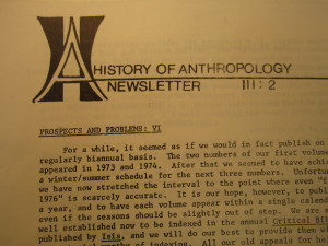 History of Anthropology Newsletter volume 3, number 2, 1975