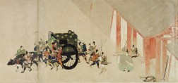 Go-Shirakawa and his heir escaping Kyoto. Without the imperial family, the position of the Minamoto would deteriorate rapidly, culminating in the suppression of their coup after only 17 days.