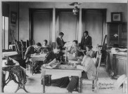 Students studying in the biology laboratory, Agricultural and Mechanical College, Greensboro, NC