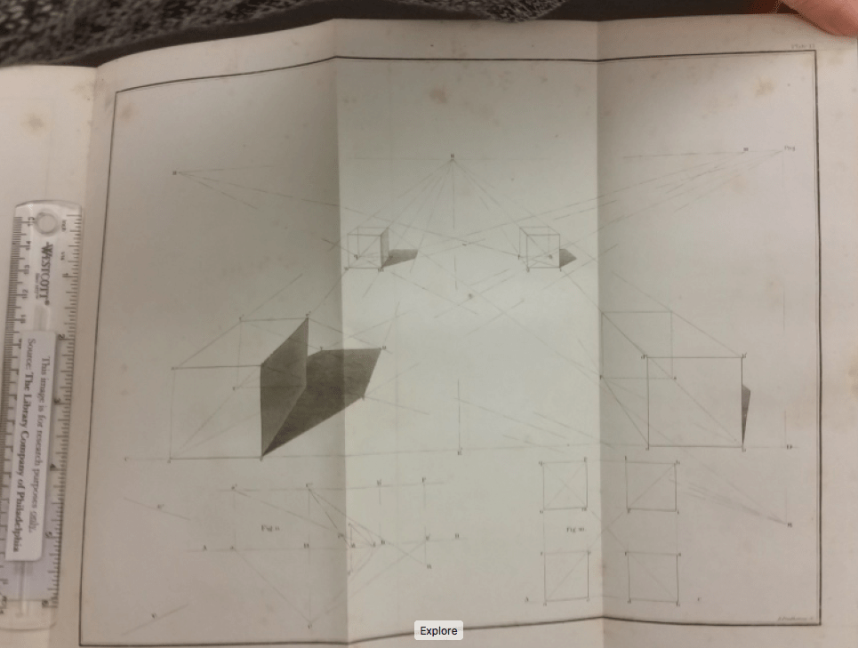 Shadows and projections of a cube in Charles Davies's Treatise on Shades and Shadows (New York: Wiley & Putnam, Collins, Reese, & Co., 1838).