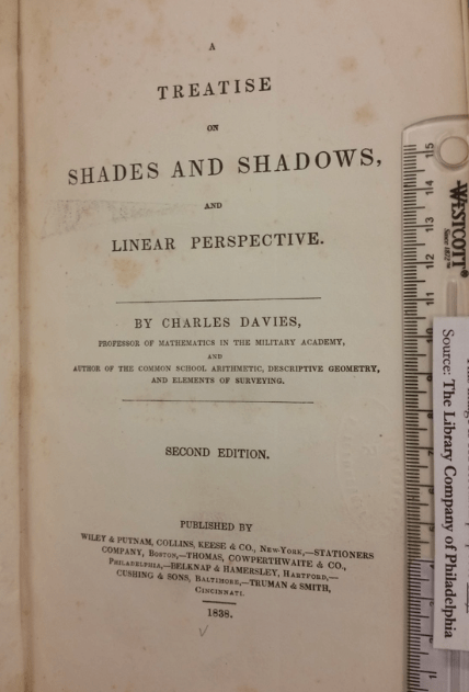 Title page of Charles Davies, Treatise on Shades and Shadows, and Linear Perspective (New York: Wiley & Putnam, Collins, Reese, & Co., 1838)