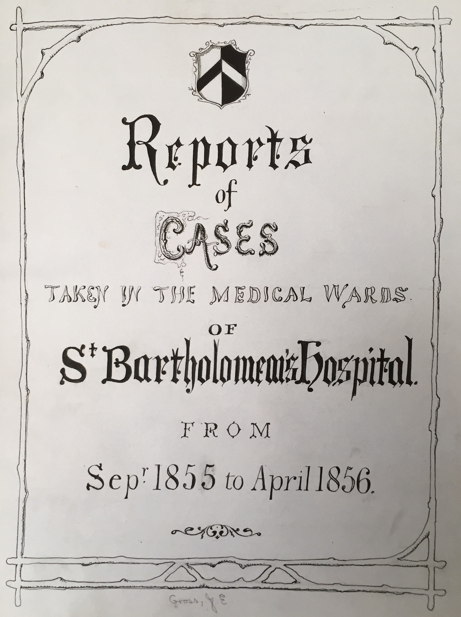 """Title page of John Edward Gross's """"Reports of Cases"""" (courtesy of St. Bartholomew's Hospital Archives)"""
