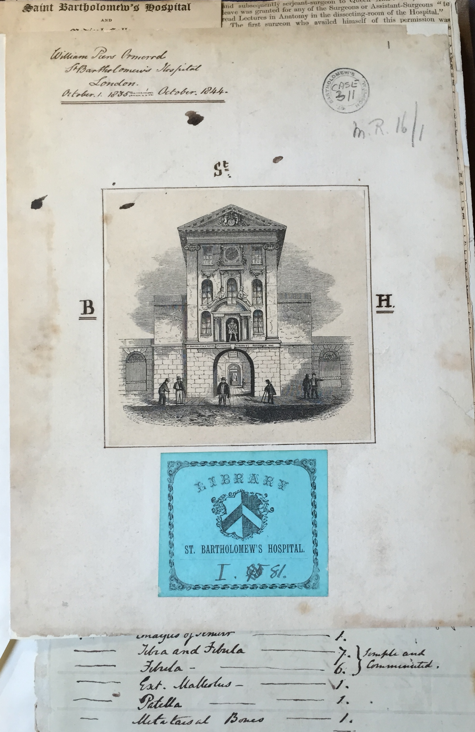 """Frontpage of Omerod's """"Case-Handbook"""" with library signature (courtesy of St. Bartholomew's Hospital Archives)"""