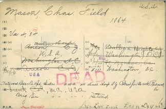 Index card (front) for Charles Field Mason, 1864–1922, American Medical Association Deceased Physicians Masterfile 1906-1969, History of Medicine Division, National Library of Medicine, Bethesda, Maryland, MSC 556, box 172.