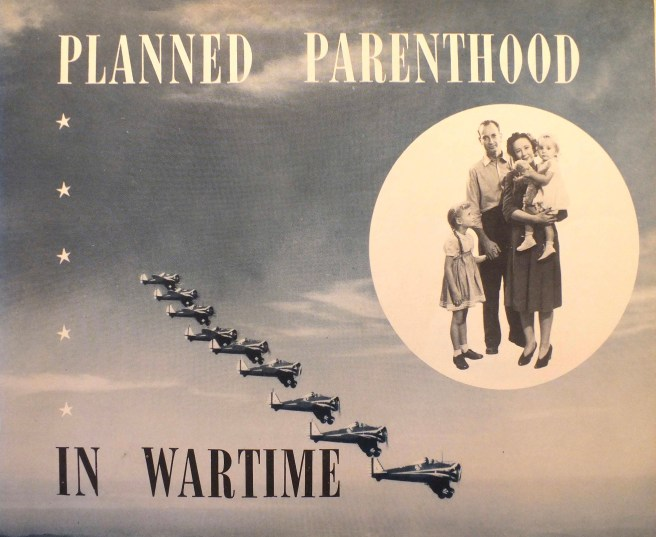 Nine warplanes flying in formation, lower left quadrant, and a family in a circle to the right and slightly above those of those planes. The family: mother, father, child standing, and toddler in mother's arms.