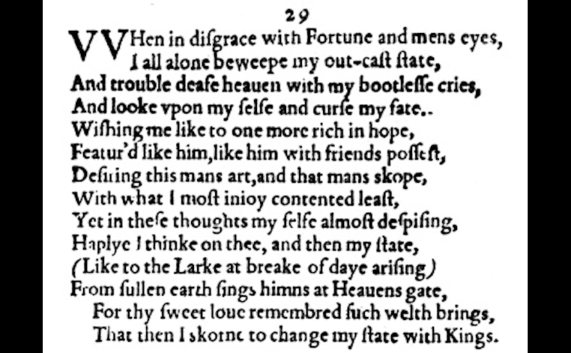 "255 Shakespeare's Best | Sonnet 29 (""When in disgrace with Fortune and men's eyes"")"