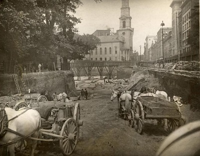 Workers building the Boston subway in 1895