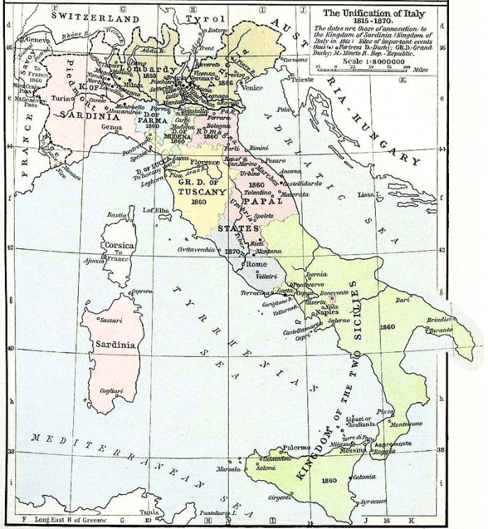 A map of Italy, illustrating the process of her unification.