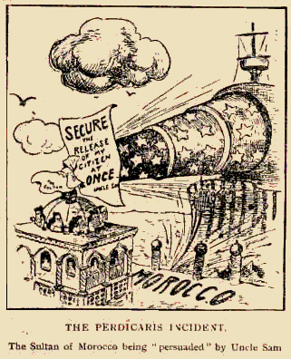 Period cartoon commenting on the Perdicaris affair.