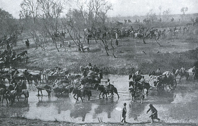 Russian soldiers retreating to the north, following their defeat at the Battle of Mukden.