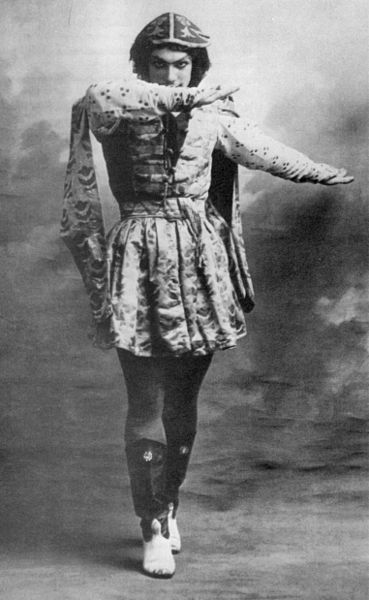 Vaslav Nijinksy, in a 1909 publicity photo from the Ballets Russes.