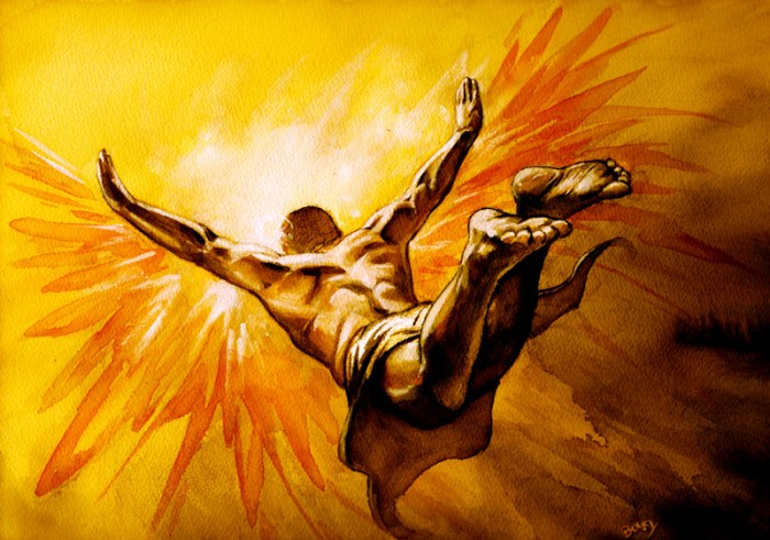 Artist David Bovey created this 21st century interpretation of the myth of Icarus. ©2004 by David Bovey.