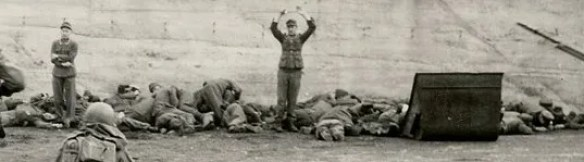 3 Pics: WW2: US Troops executing German Waffen SS in Dachau