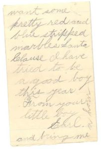 Letter to Santa from Earl, page 3