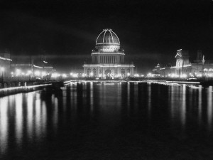 Electric lights at 1893 Colombian Exposition