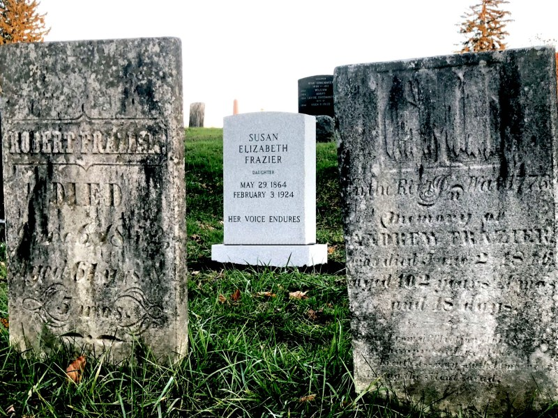 View of Susan Elizabeth Frazier memorial headstone. To the left, her paternal grandfather. To the right, her great-grandfather Rev. War veteram Andrew Frazier.
