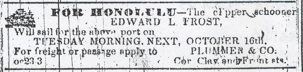Honolulu ship  Oct 1852