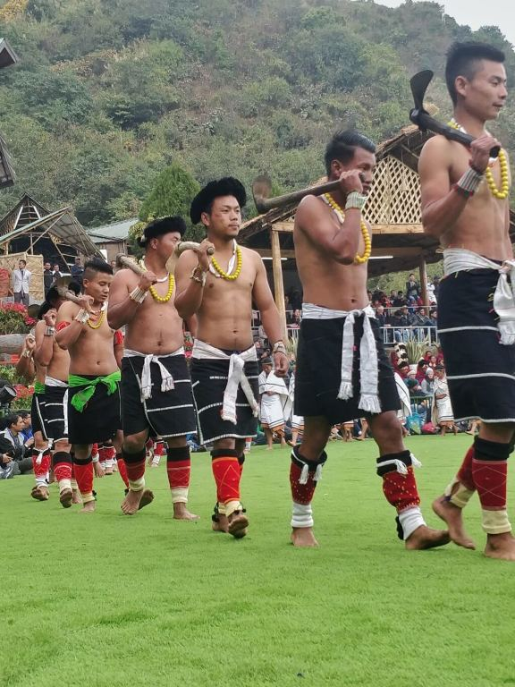 One of the major tribes in Nagaland - The Angamis making their way to the cultural performance - Hornbill Festival 2019