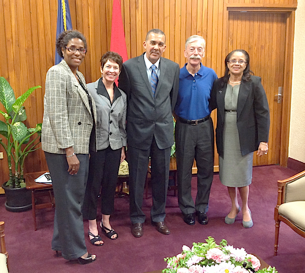 From Left - Hyacinth Griffith, Debra Gauthier, President Carmona, Phillip Lee, Judith Henry