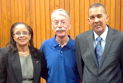 Dr. Judith Henry, Hospital Christian Fellowship; Pastor Phillip Lee; and His Excellency, Anthony Carmona, President of the Republic of Trinidad and Tobago