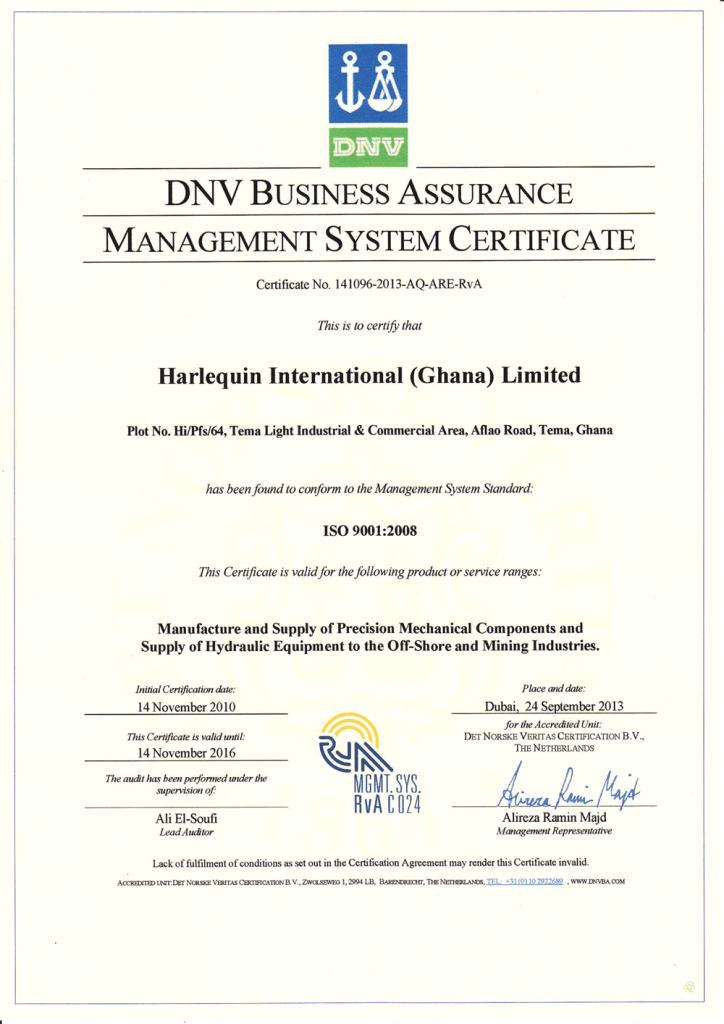 ISO Certification DNV Harlequin International (Gh) Ltd - Quality Assurance Metrology Ghana Services in Africa