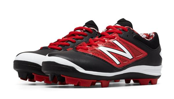 New Balance J4040BR3 - Black/Red Low Rubber Baseball Cleats