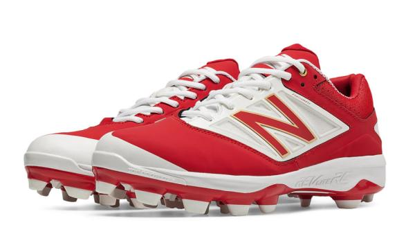 New Balance PL4040R3 - Red/White Low Rubber Baseball Cleats