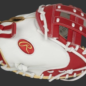 """Rawlings Liberty Advanced 33"""" Fastpitch Catcher's Mitt - White/Red (RLACM33FPS)"""