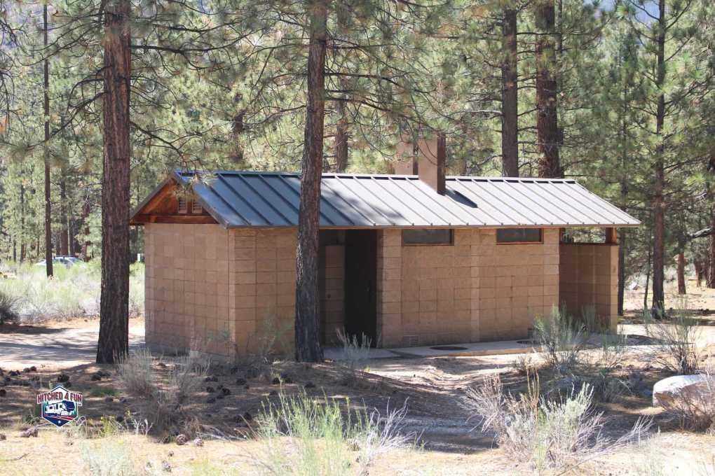 Nice and clean bathrooms at Heart Bar Campground, Big Bear Lake, CA
