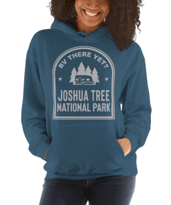 RV There Yet? Joshua Tree National Park Hooded Sweatshirt (Unisex) Indigo Blue