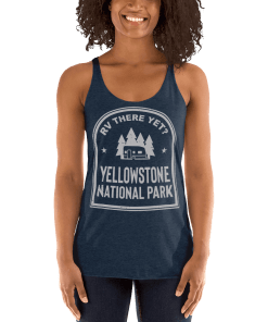 RV There Yet? Yellowstone National Park Racerback Tank (Women's) Vintage Navy