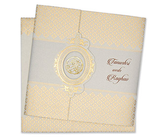 Muslim Wedding Cards Designer Card In Powder Blue And Golden Colour