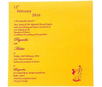 Indian Wedding Card In Blue Golden Peas Pink Background