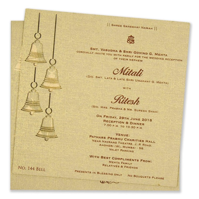 Laser Cut Wedding Invite With Temple Bells