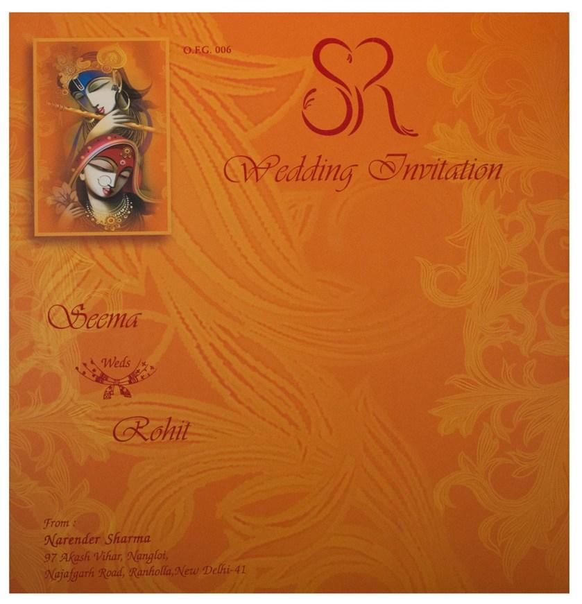 Hindu Wedding Card With Modern Radha Krishna Design In Orange