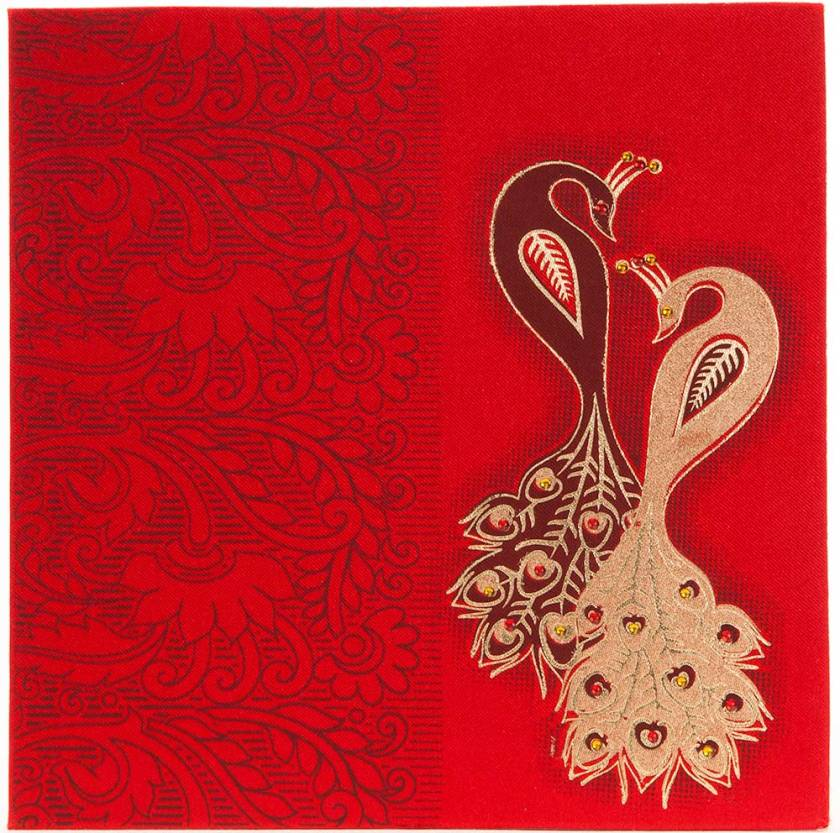 Wedding Invitation In Red Satin With Stone Studded Pea