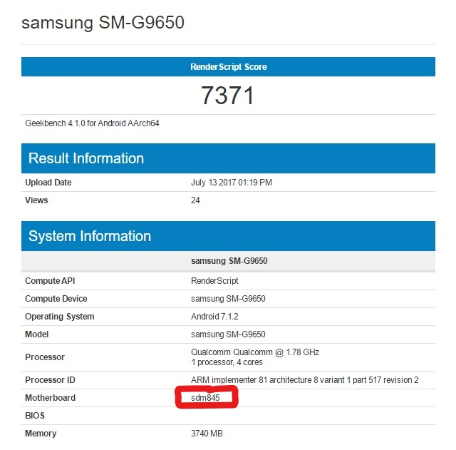 Second benchmark results with Snapdragon 845