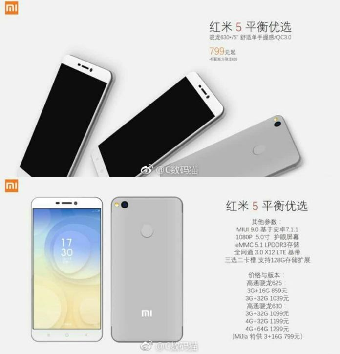 Xiaomi Redmi 5 Leaked on Weibo, Pretty Much Everything Revealed