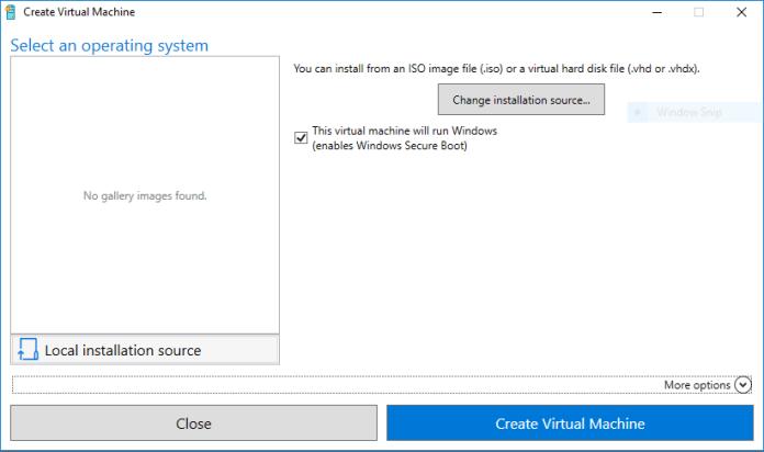 Updated Hyper-V UI in Fall Creators Update