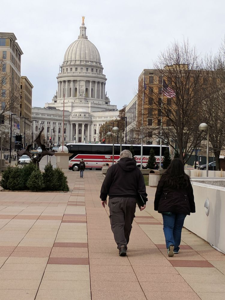 Walking toward the Wisconsin Capital