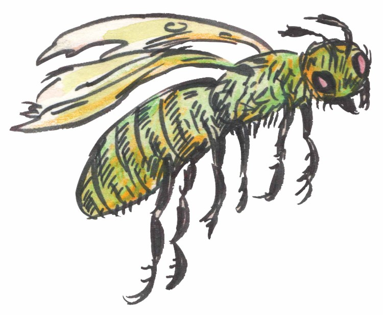 Artistic rendering of a zombie bee
