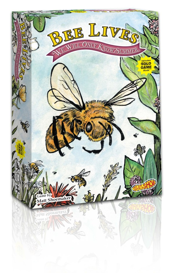 The Bee Lives box standing on the short edge with 3 sides visable