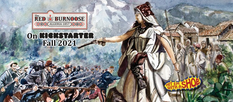 Kickstarter banner for The Red Burnoose: Algeria 1857 game.