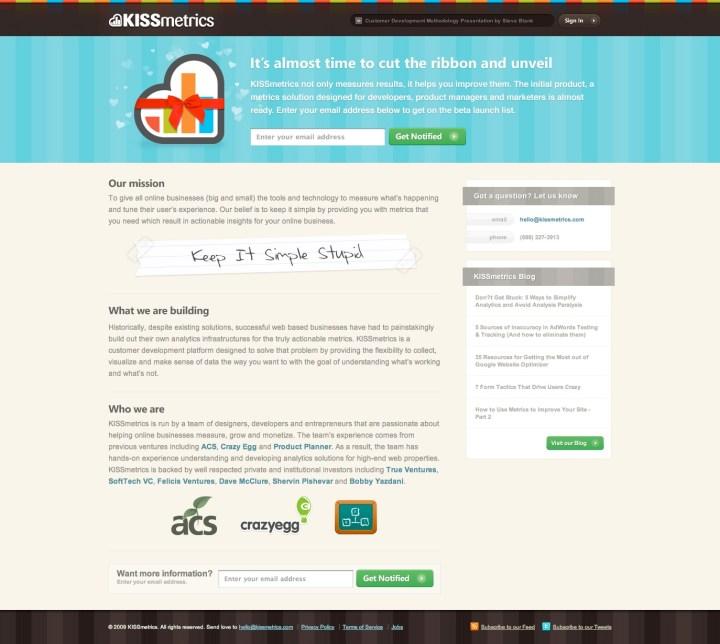 kissmetrics gift landing page