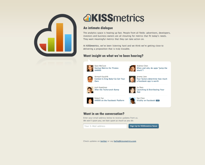 kissmetrics old landing page