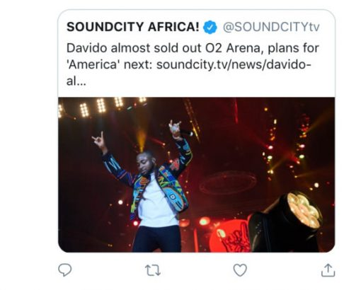 Soundcity Alleges Davido's O2 Arena Concert Wasn't Sold Out