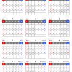 [Excel] 2017年 エクセル(Excel)年間カレンダー(A4縦型カレンダー方式)無料ダウンロード[1月始まり]
