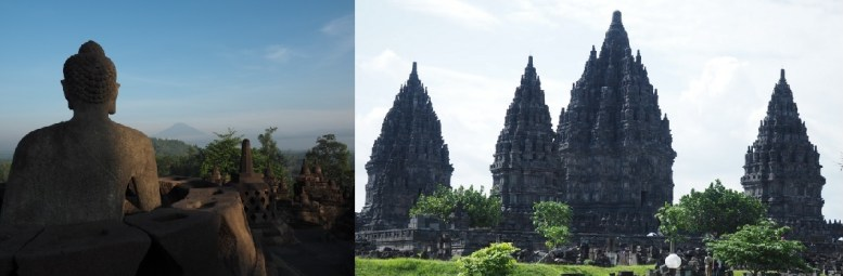 ボロブドゥール遺跡(左)とプランバナン寺院遺跡(右)